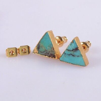 10mm Triangle Natural Genuine Turquoise Stud Earrings Gold Plated T055514