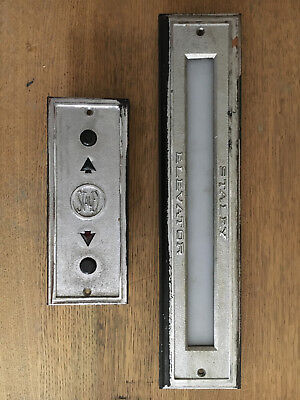 Vintage iron Chrome Elevator up down Indicator Staley 8 floor number panel roof