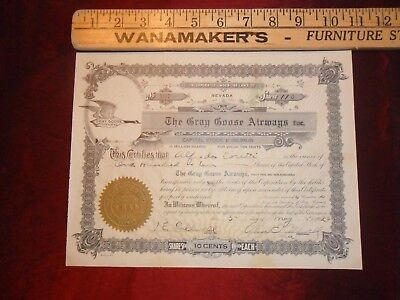 1928 Gray Goose Airways Stock Certificate Very Early!