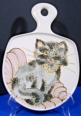 Beautiful vintage decorative porcelain tray/ dish hand decorated with cat design