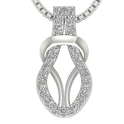 Knot Pendant Necklace 0.25Ct Genuine Diamond SI1 H Pave Set 0.70 Inch White Gold