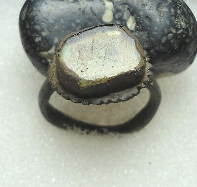 Ancient Roman Bronze Ring with Stone Original Authentic Antique Rare R131
