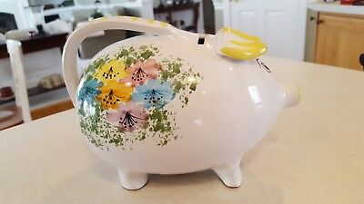 Adorable Vintage Hand Painted Ceramic Piggy Bank Made in Italy