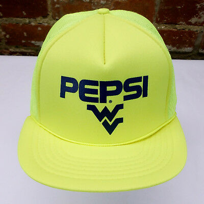 VTG NOS Pepsi Cola West Virginia WVU Madhatter Yellow Snapback Trucker Cap Hat