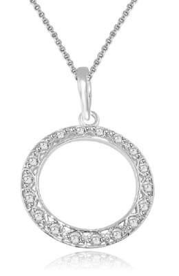 SI1 H Circle Pendant Necklace 0.40Ct Natural Diamond 14K Gold Appraisal 1.20Inch