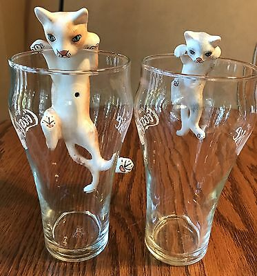 2 Ceramic Kitty Cats , Glass Cup Bowl Edge Hanging Cats, For Cat Lover!