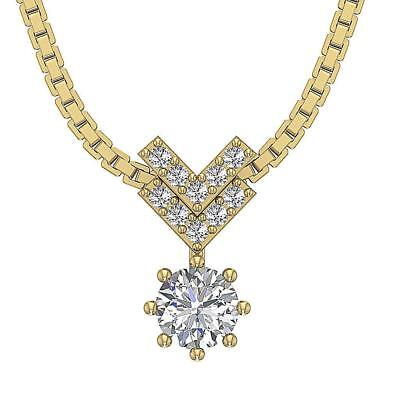 Genuine Diamond I1 H 0.55Ct Solitaire Fashion Pendant Necklace 14K Yellow Gold