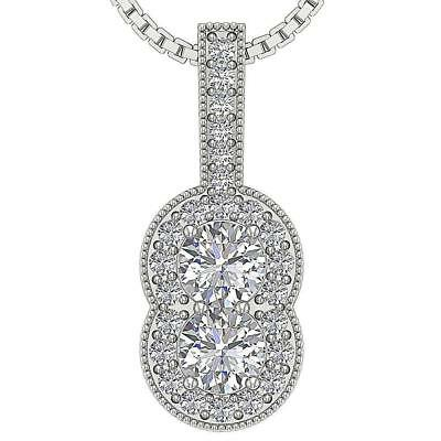 Forever Us Two Stone Real Diamond 1.00Ct Halo Pendant Necklace 14K White Gold