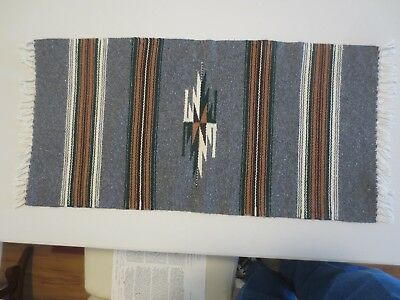 """Colorful  29"""" X 15"""" CHIMAYO BLANKET from Trujillo's Weaving House 1999"""