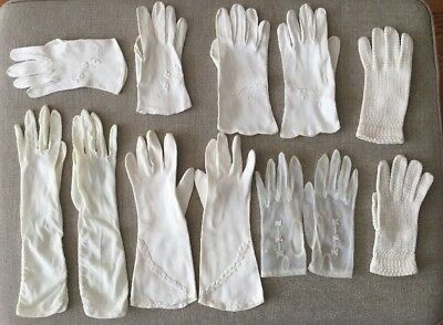 Vintage Ladies Gloves ~ Lot of 6 Pairs ~ Various Lengths and Styles