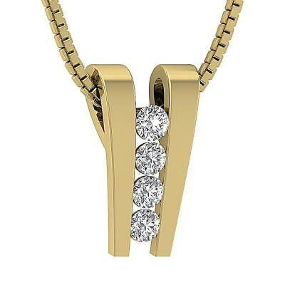 Cluster Pendant Necklace I1 H 0.30Ct Natural Diamon 14Kt Yellow Gold Channel Set