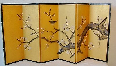 Vintage Japanese folding painting or screen, hand painted peach or plum branch