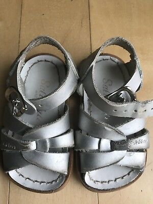 Used Saltwater Silver Sandals Baby Size 3