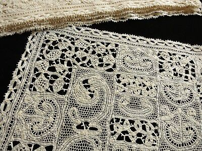 Unusual Pattern~ Antique Tape Lace 12 PLACEMATS & TABLE RUNNER ~Pale Ecru ~Clean
