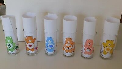 Complete Set of 6 Care Bears Pizza Hut glasses Rare