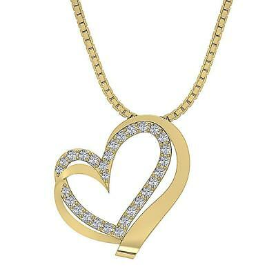 Heart Pendant Necklace I1 H 0.50Carat Genuine Diamond 14Kt Yellow Gold Appraisal