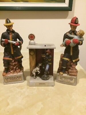 3 Vintage Firefighter Lionstone Sculpture Kentucky Whiskey Porcelain Decanter