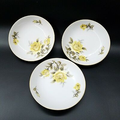 """Harmony House Yellow Rose. Set of 3. 5 1/2."""" Berry Bowls."""