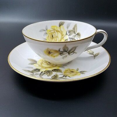 Harmony House Yellow Rose. Flat Cup and Saucer Plate Set.