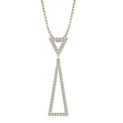 Triangle Fashion Pendant Necklace Real Diamond I1 H 0.30Ct Prong Set Rose Gold