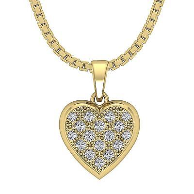 VS1 F Heart Pendant Necklace 0.35Ct Natural Diamond 14Kt White Yellow Rose Gold