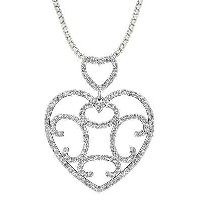 Designer Heart Pendant Necklace 1.50Ct VVS1 F Round Diamond Prong Set White Gold