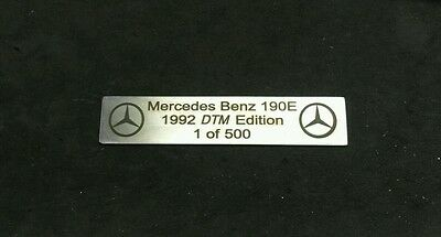 Mercedes Benz 190e w201 DTM Edition Plakette 1 of 500 AMG 2.3 EVO Emblem Sticker