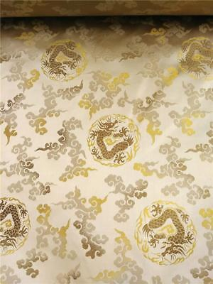 Vintage Chinese Gold Silk Brocade Textile 24 Yards Imperial  Dragons & Clouds