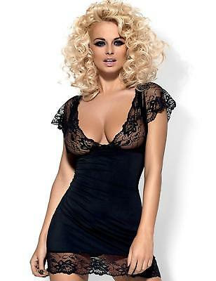 Obsessive Imperia Chemise & Thong Set Black Sexy Lace Lingerie
