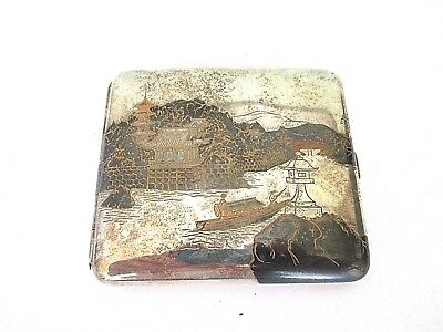 Antique Japanese sterling silver cigarette case with scenes of Japan  97 grams