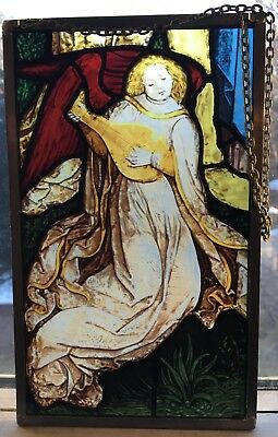 """Vintage """"Angel"""" Stained Glass AMM Window Sun Catcher Leaded Frame Gorgeous 9x5.5"""