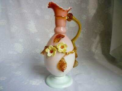 Victorian Peachblow Satin Glass Ewer Applied Flowers, Leaves & Handle,tooled Rim