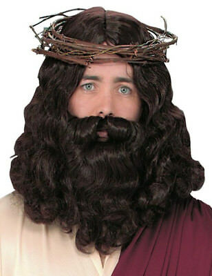 Jesus Prophet Christmas Hippie Hippy 70s Men Costume Wig & Beard