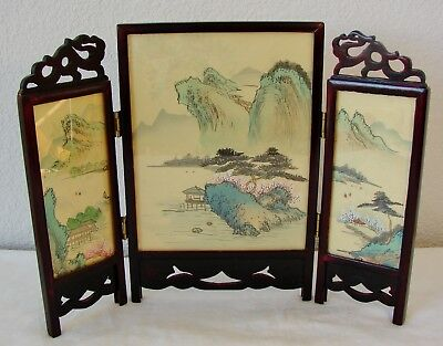 Vintage Asian, Chinese or Japanese hand painted folding screens with wood frames