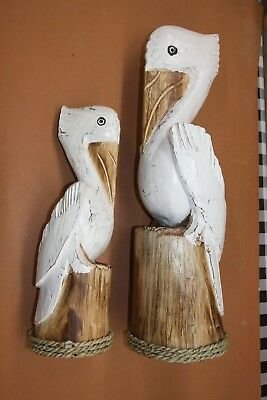 Pelican carved wood statue, Unique Hand-made Pelican Decor Gift Set,  Lot of 2