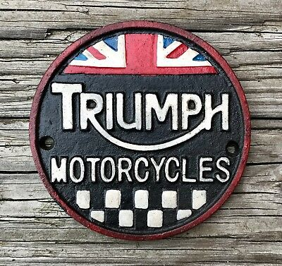 TRIUMPH MOTORCYCLES Vintage Cast Iron Circular Sign
