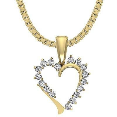 VVS1 F Genuine Diamond 0.30Carat Heart Pendant Necklace 14Kt Solid Gold 0.90Inch