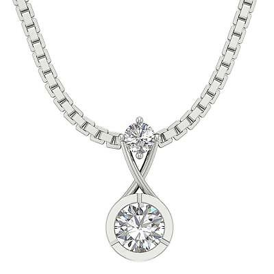 SI1 H Natural Diamond Solitaire Pendant 0.40Ct 14Kt Solid White Gold 0.50 Inch