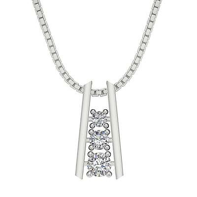 SI1 H 0.65Ct Round Cut Diamond Journey Pendant Necklace 14K Solid Gold Appraisal
