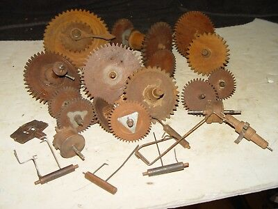 Estate Lot Of Antique Vintage Wood Wooden Clock Gears Parts Steampunk Refurbish