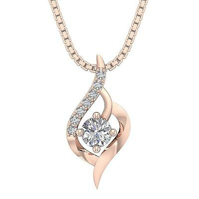 Cluster Solitaire Pendant Necklace I1 H 0.40Carat Natural Diamond 14K Rose Gold