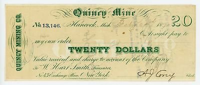 1870 $20 The Quincy Mining Company - Hancock, MICHIGAN Note
