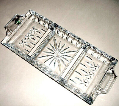 Waterford Crystal LISMORE Serving Dish 3-Part Rectangle Tray Ireland 146617 New