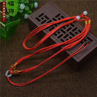 5Pcs Natural JADE beads Red Circle string cord rope for pendant Necklace A200