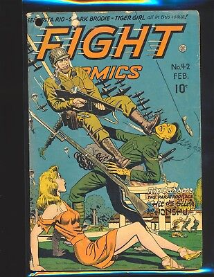 Fight Comics # 42 - Last WWII Cover Good Cond. hole punch through comic