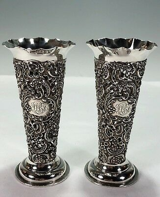PAIR English Pierced Repousse Sterling Silver Vases William Comyns No Inserts
