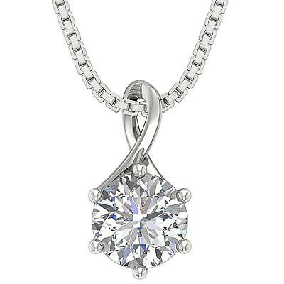 Genuine Diamond Solitaire Pendant Necklace Six Prong I1 H 1.10Ct 14K White Gold
