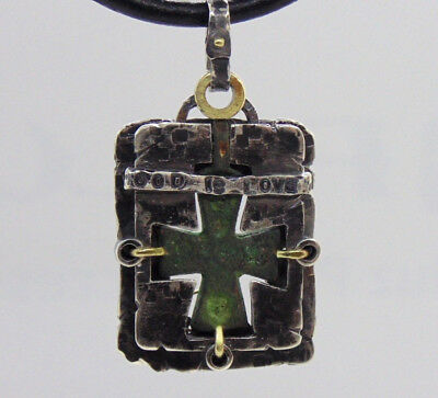 Ancient Roman Bronze Cross unisex fusion style starling silver Pendant