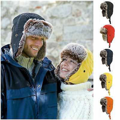 Mens Winter Warm Russian Ushanka Trapper Ski Hat Faux Fur Ear Flaps