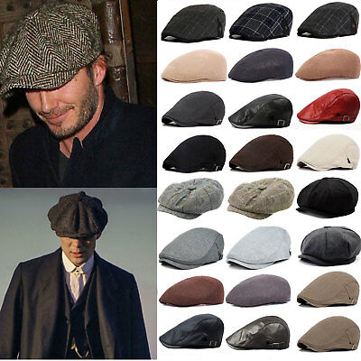 Mens Baker Boy Hat Peaky Gatsby Newsboy Country Herringbone Flat Caps